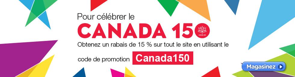 Obtenez un rabais de 15 % sur tout le site en utilisant le code de promotion - Canada150 !